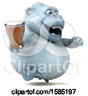 Poster, Art Print Of 3d White Monkey Yeti Holding A Beer On A White Background