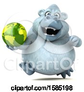 Poster, Art Print Of 3d White Monkey Yeti Holding A Globe On A White Background