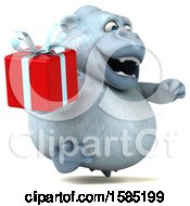 Poster, Art Print Of 3d White Monkey Yeti Holding A Gift On A White Background