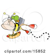 Mans Head On A Bees Body Carrying A Briefcase And A Hotdog Topped With Mustard And Relish Clipart Illustration