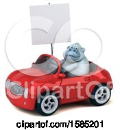 Poster, Art Print Of 3d White Monkey Yeti Driving A Convertible On A White Background