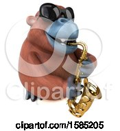 Clipart Of A 3d Orangutan Monkey Playing A Saxophone On A White Background Royalty Free Illustration