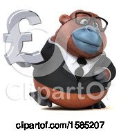 Clipart Of A 3d Business Orangutan Monkey Holding A Pound Currency Symbol On A White Background Royalty Free Illustration