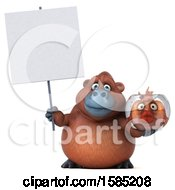Clipart Of A 3d Orangutan Holding A Fish Bowl On A White Background Royalty Free Illustration
