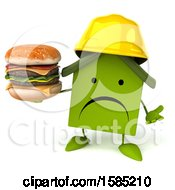 Clipart Of A 3d Green Home Contractor Holding A Burger On A White Background Royalty Free Illustration