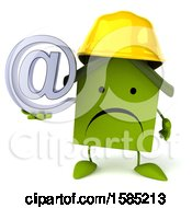 Clipart Of A 3d Green Home Contractor Holding An Arobase Symbol On A White Background Royalty Free Illustration