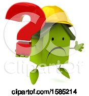 Clipart Of A 3d Green Home Contractor Holding A Question Mark On A White Background Royalty Free Illustration