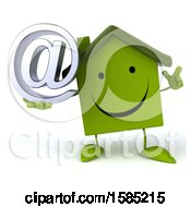Clipart Of A 3d Green Home Holding An At Symbol On A White Background Royalty Free Illustration