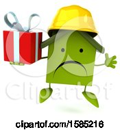 Clipart Of A 3d Green Home Contractor Holding A Gift On A White Background Royalty Free Illustration