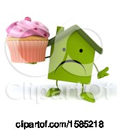 Clipart Of A 3d Green Home Holding A Cupcake On A White Background Royalty Free Illustration