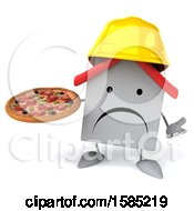 Clipart Of A 3d White Home Contractor Holding A Pizza On A White Background Royalty Free Illustration