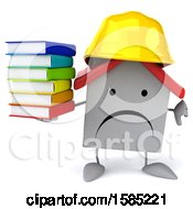 Clipart Of A 3d White Home Contractor Holding Books On A White Background Royalty Free Illustration
