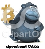 Clipart Of A 3d Gorilla Holding A Bitcoin Symbol On A White Background Royalty Free Illustration