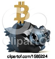 Clipart Of A 3d Business Gorilla Holding A Bitcoin Symbol On A White Background Royalty Free Illustration