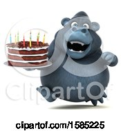 Clipart Of A 3d Gorilla Holding A Birthday Cake On A White Background Royalty Free Illustration