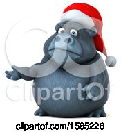 Clipart Of A 3d Christmas Gorilla Presenting On A White Background Royalty Free Illustration