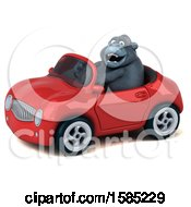 Clipart Of A 3d Gorilla Driving A Convertible On A White Background Royalty Free Illustration