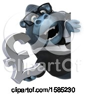 Clipart Of A 3d Business Gorilla Holding A Lira Pound Currency Symbol On A White Background Royalty Free Illustration