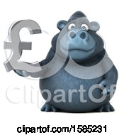 Clipart Of A 3d Gorilla Holding A Lira Pound Currency Symbol On A White Background Royalty Free Illustration