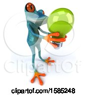 3d Blue Frog Holding A Light Bulb On A White Background