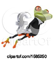 3d Green Business Frog Holding A Lira Pound Currency Symbol On A White Background