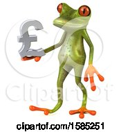 3d Green Frog Holding A Lira Pound Currency Symbol On A White Background