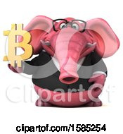 Clipart Of A 3d Pink Business Elephant Holding A Bitcoin On A White Background Royalty Free Illustration by Julos