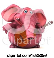 3d Pink Elephant Holding A Guitar On A White Background