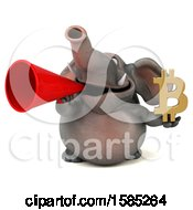 3d Elephant Holding A Bitcoin Symbol On A White Background