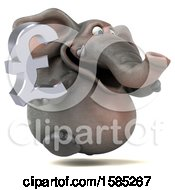 3d Elephant Holding A Pound Currency Symbol On A White Background