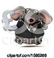 3d Business Elephant Holding A Pound Currency Symbol On A White Background