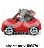 3d Elephant Driving A Convertible On A White Background