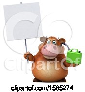 Clipart Of A 3d Brown Cow Holding A Gas Can On A White Background Royalty Free Illustration by Julos
