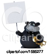 3d Black Bull Holding A Trumpet On A White Background