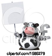 Clipart Of A 3d Business Holstein Cow Holding A Pound Currency Symbol On A White Background Royalty Free Illustration by Julos