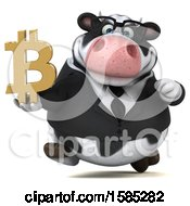 Clipart Of A 3d Business Holstein Cow Holding A Bitcoin Symbol On A White Background Royalty Free Illustration by Julos