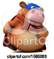Clipart Of A 3d Super Brown Cow Character On A White Background Royalty Free Illustration by Julos