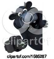 Clipart Of A 3d Black Bull Holding A Camera On A White Background Royalty Free Illustration by Julos