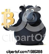 Clipart Of A 3d Black Bull Holding A Bitcoin Symbol On A White Background Royalty Free Illustration by Julos