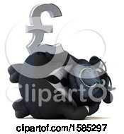 Clipart Of A 3d Black Business Bull Holding A Pound Currency Symbol On A White Background Royalty Free Vector Illustration by Julos