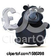 Clipart Of A 3d Black Bull Holding A Pound Currency Symbol On A White Background Royalty Free Vector Illustration by Julos