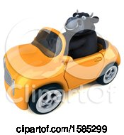 Clipart Of A 3d Black Bull Driving A Convertible On A White Background Royalty Free Vector Illustration by Julos