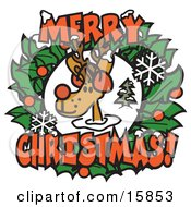 Red Nosed Reindeer Rudolph In Between A Christmas Wreath With Merry Christmas Clipart Illustration