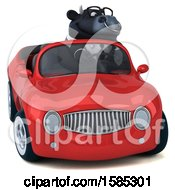 Clipart Of A 3d Black Business Bull Driving A Convertible On A White Background Royalty Free Vector Illustration by Julos