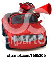 Clipart Of A 3d Red Business Bull Driving A Convertible On A White Background Royalty Free Vector Illustration