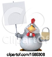Poster, Art Print Of 3d White Chicken Holding A Padlock On A White Background
