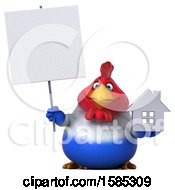 Poster, Art Print Of 3d French Chicken Holding A House On A White Background
