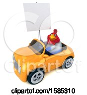 Poster, Art Print Of 3d French Chicken Driving A Convertible On A White Background