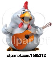 3d White Chicken Holding A Guitar On A White Background