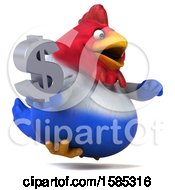 Poster, Art Print Of 3d French Chicken Holding A Dollar Sign On A White Background